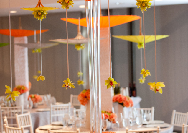 LA Wedding Planner Wayne Gurnick: full service Bat Mitzvah reception design, planning and coordination at Skirball Cultural Center, whimsical umbrellas theme